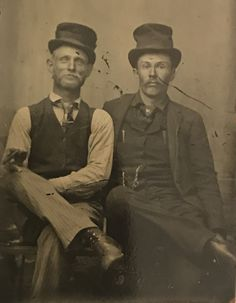 Virgil Earp on the right, Wyatt Earp on the left. On a Gem Tintype. Original image from the collection of P. W. Butler.