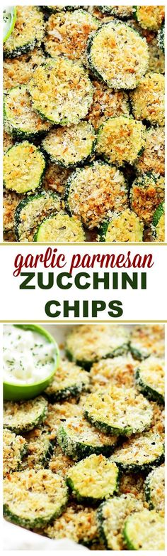Baked Garlic Parmesan Zucchini Chips Healthy, crispy and flavorful baked zucchini chips recipe covered in seasoned panko bread crumbs with garlic and Parmesan. Bake in a 450 degree oven 8 - 10 min. Parmesan Zucchini Chips, Zucchini Chips Recipe, Garlic Parmesan, Zucchini Cheese, Baked Zuchinni Recipes, Bake Zucchini, Baked Zucchini Recipes Healthy, Baked Breaded Zucchini, Healthy Garlic Bread
