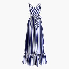 Petite striped ruffle maxi dress : Women ready-to-party collection   J.Crew