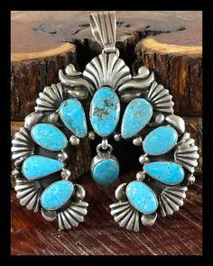 MMC Opal Blue Stone Flower Silver Pendants Necklaces