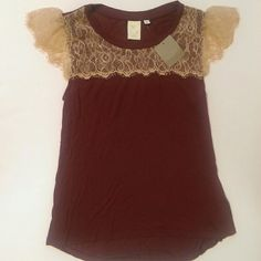 Anthropologie Eyelash Sleeve Top NWT Anthropologie Eyelash Sleeve Top in Bordeaux  -A gorgeous shirt with delicate lace. Perfect for the holidays with jeans or tucked into a skirt Anthropologie Tops