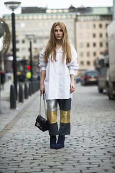Turn up the outfit interest any time of year with a pair of patchwork pants.  Source: Le 21ème   Adam Katz Sinding