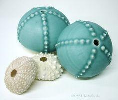 Turquoise Porcelain Sea Urchin Bud Vase