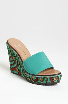turquoise wedge by donald pliner ~ love the beading