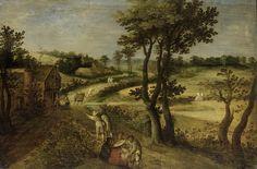 anoniem | Landscape with Corn Fields, attributed to Jacob Savery (II), 1602 - 1630 | Landschap met korenvelden aan de rechterzijde van een landweg, aan de linkerkant een herberg. Over de weg gaan reizigers en een herder met schapen. Op de voorgrond twee zittende zigeunerinnen die twee boeren de hand lezen.
