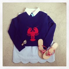 Nautical Preppy Outfit - two bees cashmere, vineyard vines