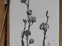 Sumi-e Tuschebild Baumwollblüten Japan, Etsy, Character, Art, Ink Paintings, Ink Drawings, Art Background, Kunst, Performing Arts