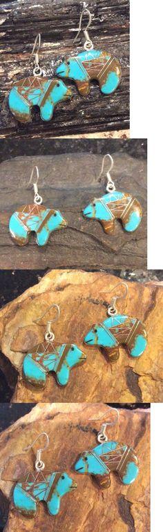 Earrings 98497: Native American Sterling Silver Turquoise Inlay Zuni Bear Dangle Earrings -> BUY IT NOW ONLY: $59 on eBay!