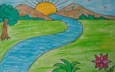 Easy Drawings Of Scenery Simple Drawing Scenery Easy Scenery Drawing Mountain Landscape Drawing, Landscape Drawing For Kids, Nature Drawing For Kids, Landscape Drawings, Landscape Pictures, Cool Landscapes, Art Drawings, Pencil Drawings, Drawing Art
