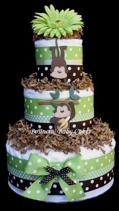 Monkeying Around in Green Diaper Cake, Baby Shower Centerpiece via Etsy
