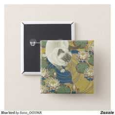 Siamese cat and water lilies pinback button by Satoi Oguma.