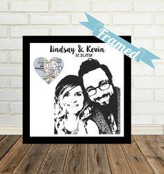 Custom Couple Portrait Unique Engagement Gift by DefineDesign11