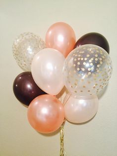 Brown Peach and Rose Gold Balloons Rustic Wedding Fall