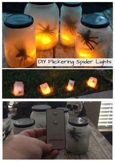 Upcycle your old jars or use mason jars with dollar store supplies to make these fun flickering spider lights to line your walkway this Halloween! #spiders #Halloween #halloweendecor #halloweendecorations #halloweencrafts #crafts #diy #upcycle