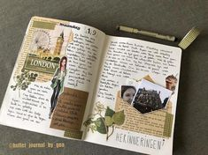 Beautiful travel journal & notebook, full of ideas for scrapbooks o: cant wait t. Bullet Journal Aesthetic, Bullet Journal Writing, Bullet Journal Ideas Pages, Bullet Journal Inspiration, Art Journal Pages, Journal Notebook, Art Journals, Travel Journals, Memory Journal