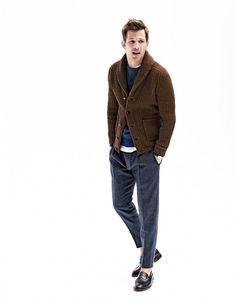 Ribbed cardigan sweater, colorblock sweatshirt, broken-in T-shirt, Wallace &…