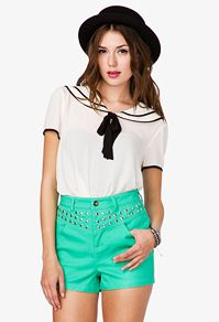 White and Blue trim sailor style middy top. Very 1920s look.