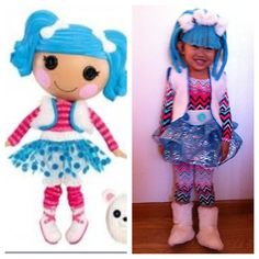 Lalaloopsy Fluff and Stuff costume.  Hair made out of foam and yarn.  Misc fabric to make outfit.  (Boots were the only thing purchased)
