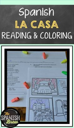 Spanish 1 reading & coloring activity about the house or casa Spanish students will love demonstrating their knowledge of Tthe Spanish Teaching Resources, Spanish Activities, Spanish Language Learning, Class Activities, Color Activities, Writing Activities, Spanish Worksheets, Spanish Flashcards, Spanish Games