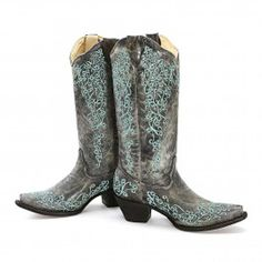 BootDaddy Collection with Corral Black Floral Cowgirl Boots