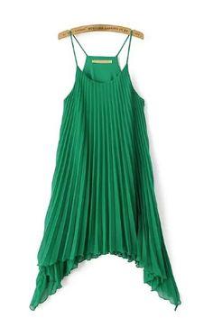 Green Irregular Hem Slip Beach Dress