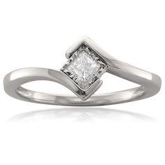 Montebello 14k Gold 1/5ct TDW Princess Bezel Solitaire Diamond Ring