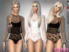 Sims 4 CC's - The Best: Bodysuit with transparent top by sims2fang