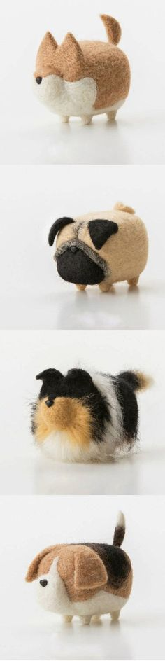 Cats Toys Ideas - Handmade felted felting project cute animal dogs puppy felted wool doll - Ideal toys for small cats Cute Crafts, Felt Crafts, Diy And Crafts, Arts And Crafts, Needle Felted Animals, Felt Animals, Cute Animals, Baby Animals, Wet Felting