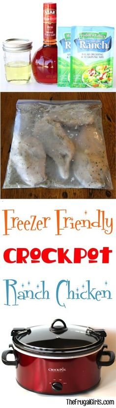 Crock Pot Ranch Chicken Recipe! ~ from TheFrugalGirls.com ~ this Easy Freezer Friendly Dinner Recipe for the Family can be prepared ahead of time and is SO delicious.  Just 4 ingredients!! #slowcooker #recipes #thefrugalgirls