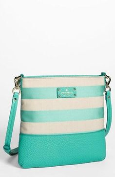 LOVE kate spade new york 'grove court stripe - cora' crossbody bag I love the colour combi Pierre Turquoise, Kate Spade Bag Crossbody, Cute Purses, Cute Bags, Beautiful Bags, Purse Wallet, Purses And Handbags, Juicy Couture, Blazers