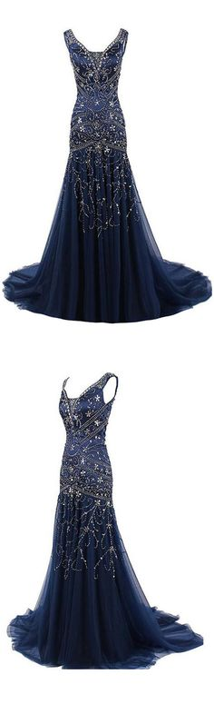Hot-Selling Mermaid V Neck Tulle Long Prom Dress With Embroidery