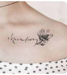 Beautiful Calligraphy Flower Tattoo Design on Shoulder for Women