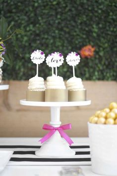 Simple but cute ribbon on the dessert stand - Garden Party Bridal Shower   CatchMyParty.com