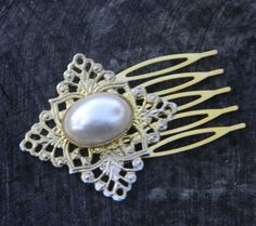 Vintage Gold Filigree and Pearl Hair Comb by Gener8tionsCre8tions, $55.00