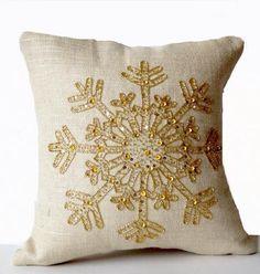 Snowflake Pillow, Green Throw Pillow, Burlap Pillow Cover - 14x14 / Natural / Silver