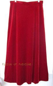 TADASHI Red Velvet Elastic Waist Skirt Size XL