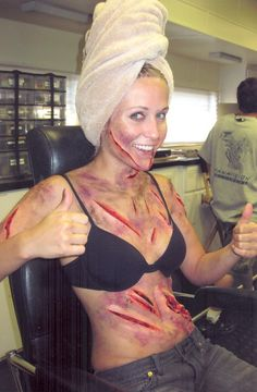 blood and guts moulage. love doing the make up at drills for the fire station