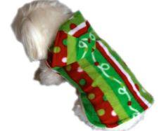 Christmas Dog Hoodie, XS Fleece dogs sweater, Holiday Ribbon Print Dog Coat, Fashion Dog Clothes