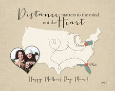 Long Distance Gift for Mom, Mothers Day Gift Idea, Birthday Gift for Mom, Going Away Gift for Daughter, Mother-Daughter Quote, Long Distance Canvas for Mom by KeepsakeMaps on Etsy