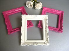 French Country Frame Trio, Pink, White, Shabby and Chic, Cottage Frames, Farmhouse, Wall Decor, Girls Bedroom. $22.00, via Etsy.