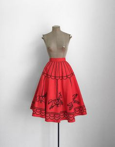 50s Novelty Print Carousel Skirt  1950s Red and by MotherOfVintage