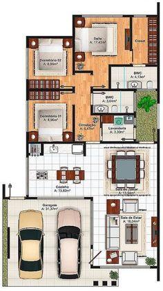 Ideias e sugestões de plantas de casas. #casasmodernaspequenas