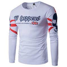 56c8f43b868 Men s Sports Active Plus Size Cotton   Linen T-shirt - Letter Print Round  Neck   Long Sleeve 2019 - US  14.23