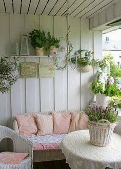 pink and white porch