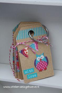Cadeau-labels, gift tags 'Summer Owls' van Eline Pellinkhof