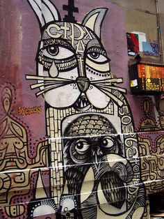 Cats and owls - Melbourne street art
