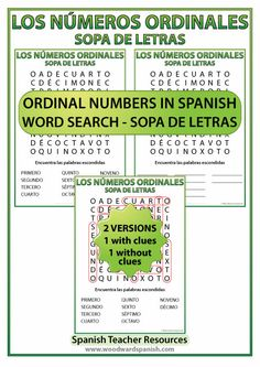 Spanish ordinal numbers word search - Los números ordinales en español - Sopa de letras