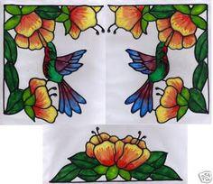 Hummingbird stained glass window corner
