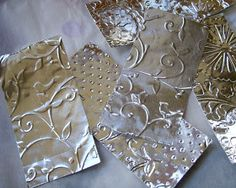 FREE Tutorial! Embossed metal flags for Art Journal pages, Altered Books, cards, scrapbooks!