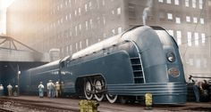 Colorized 1936 photo of the Mercury passenger train, here seen in Chicago. The Mercury trains, meant to convey a sense of speed and modern technology, were a hallmark of streamline art deco design. Deco Gamer, Arte Art Deco, Art Deco Car, New York Central Railroad, Streamline Moderne, Old Trains, Vintage Trains, Steam Locomotive, Train Tracks